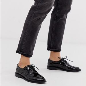 NEW ASOS BLACK PATENT LEATHER OXFORDS